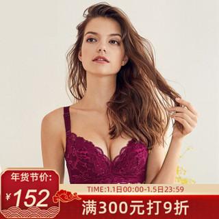 夏娃之秀文胸女内衣调整型聚拢高侧比收副乳胸罩3680 紫色 80B=36B薄杯 *2件
