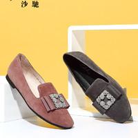 satchi沙驰女鞋2019年春新款圆头平底水钻休闲单鞋软底英伦乐福鞋