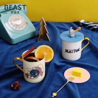 THEBEAST/野兽派猫和老鼠Tom&Jerry情侣马克杯骨瓷对杯套装 预售1.8发 含杯盖