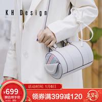 KHDesign明治女包中国风刺绣复古波士顿包休闲单肩包新款手提包简约枕头包小斜挎 白色VJK1239-01-WH