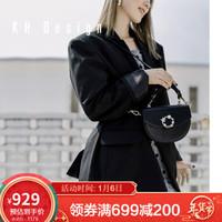KHDesign明治女包真皮迷你马鞍包时尚手提包椭圆新款单肩包休闲斜挎小包包女 黑色TMK1230-BL