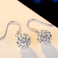 艾妮拉 S925纯银钻球耳环