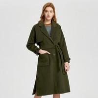 伊芙丽 女士单排扣长款双面呢大衣