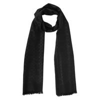 COACH 蔻馳 女士黑色桑蠶絲氣質毛邊圍巾