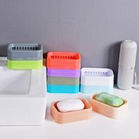 简约沥水香皂盒双层网格时尚卫生肥皂盒 3个 颜色随机