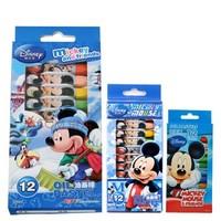 Disney 迪士尼 米奇学生蜡笔儿童彩色笔 绘画笔儿童油画棒12色 24色 12色DM6475蓝色