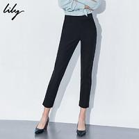 Lily2019冬新款女装黑色修身小脚裤时尚显瘦通勤裤119419C5957