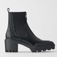 ZARA 15117081040 女士拉链高跟切尔西靴