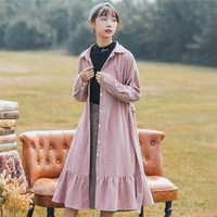俞兆林 2020春季新款女装韩版灯芯绒连衣裙长袖气质中长款鱼尾裙 YWQZ197508 粉红色 L
