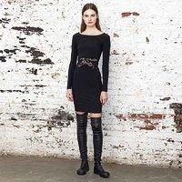 黑色腰部拼接蕾丝弹力长袖合身裙 BABYGHOST - B15FW0409