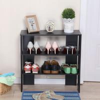 美达斯 鞋架 简易鞋架多层鞋架子 三层 黑色13225 60x24x60cm