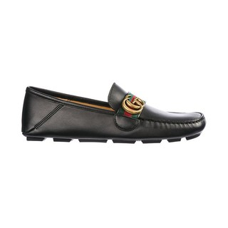 GUCCI 古驰 男士时尚红绿织带细节双G标志真皮休闲皮鞋