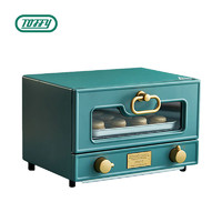 Toffy 电烤箱 日本网红复古烤箱 12L多功能家用烘焙蒸箱烤箱一体机旋钮加热迷你全自动蒸汽小烤箱K-TS2 复古绿