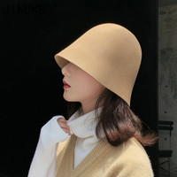 100%羊毛帽子秋冬女水桶帽