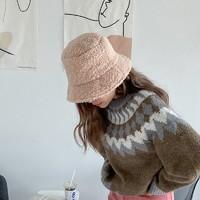 播提 女士羊羔绒渔夫帽 M码 56-58cm