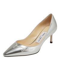 JIMMY CHOO 周仰杰 女士ROMY 60系列银色牛皮高跟鞋