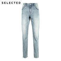 SELECTED 思莱德 S|419132519 男士含棉潮流织边休闲小脚牛仔裤
