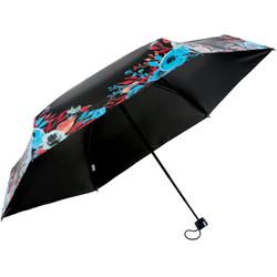 天堂伞 全遮光黑丝亮胶五折超轻太阳伞晴雨伞31832E兰色 *4件