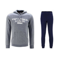 XTEP 特步 9241 男士卫衣卫裤套装 中灰+深蓝