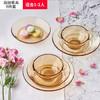 VISIONS 康宁 百丽餐具透明琥珀玻璃家用碗盘子套装微波炉烤箱可用耐高温 6-OV 百丽6件套
