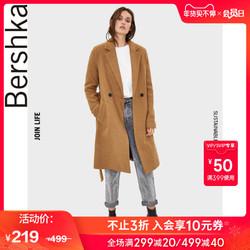 Bershka女士 2019秋冬新款驼色宽松系腰带毛呢外套 06443310742