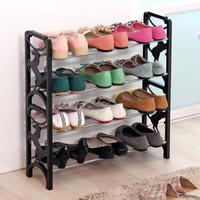 美达斯 鞋架 简约四层鞋架 简易自由组合防尘置物架子收纳鞋柜 黑色 12469