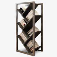 帅力 书架 树形落地实用简易书柜钢木多层储物置物架子 88*40*24cm六层黑胡桃色 SL8116S