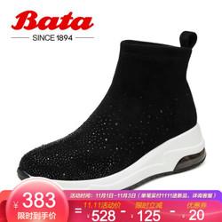 Bata/拔佳2019冬专柜同款休闲厚底弹力袜靴休闲靴水钻平跟女短靴65811DD9 黑色 39
