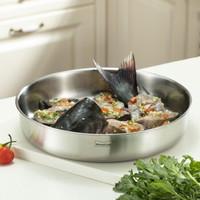 Momscook 不锈钢菜盆 盘子 盆子 碗 碟子 304材质 大菜盘 JA-WP12 *8件