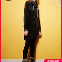 C&A天鹅绒拼接假两件加绒高领连衣裙女士冬季卫衣裙CA200222133-1