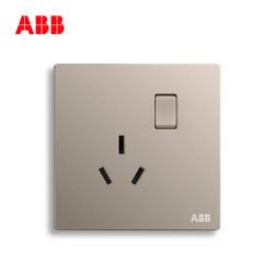 ABB开关插座无框轩致朝霞金墙壁插座一开16A三孔空调插座AF228-PG *8件