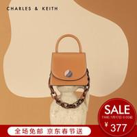 CHARLES&KEITH女包CK2-20781085链条翻盖手提单肩包女 CARAMEL焦糖色 S