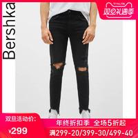 Bershka男士 2019新款黑色破洞紧身牛仔裤 05303969800