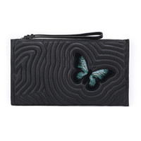 LONGCHAMP 珑骧 女士HYPNOTIC系列黑色刺绣蝴蝶图案羊皮手拿包
