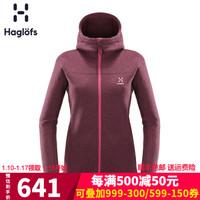 Haglofs火柴棍运动户外女款带帽抓绒衫603728 32Q紫红色 XL