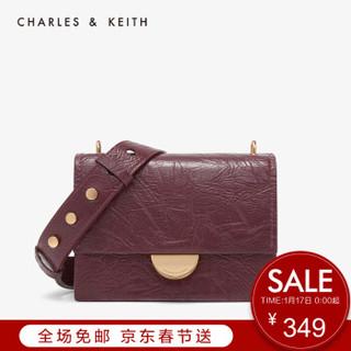 CHARLES&KEITH CK2-80671036-1金属扣饰宽肩带单肩包女