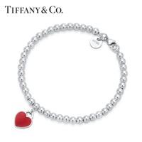 Tiffany&Co. 蒂芙尼 Return系列 圆形珐琅红心手链