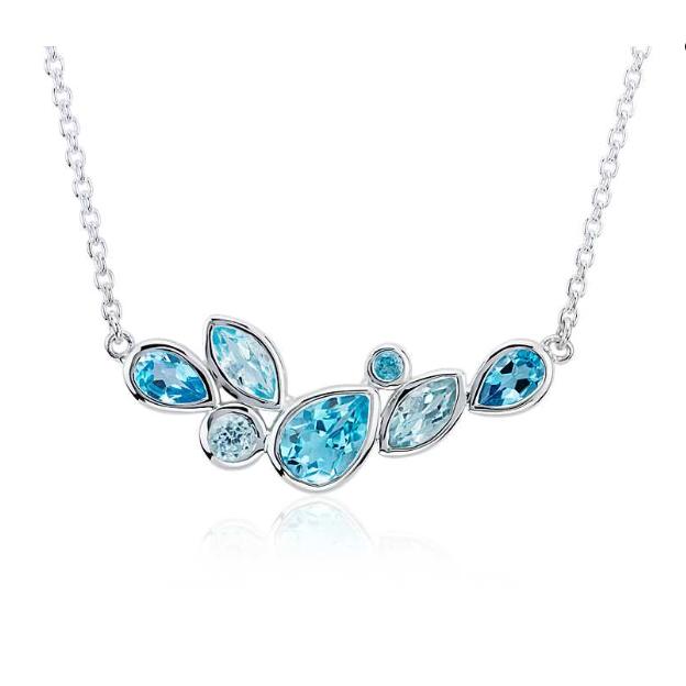 Blue Nile 多形状混搭蓝色托帕石项链