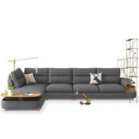 A家家具 小户型布艺沙发组合  右三人位 右贵妃
