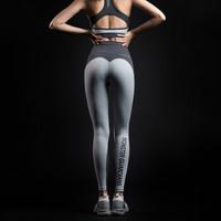 MSGD紧身运动裤 女子蜜桃臀拼色设计健身裤 瑜伽训练裤 升级款高腰款 S (适合90-110斤 *2件