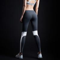 MSGD紧身裤 女子健身瑜伽长裤撞色拼接设计视觉显瘦 Titanium Grey 钛白灰 S(现货开售 *2件