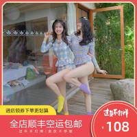 OM韩国INS风泳衣连体性感三角遮肚修身度假温泉泳装温泉泡澡服