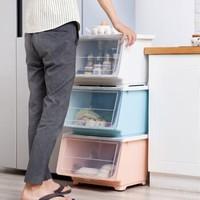 百露收纳箱塑料加大号透明衣服被子玩具储存整理箱带盖家用储物箱 大号斜口箱 *3件