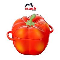 Staub陶瓷创意双耳带盖燕窝碗布丁小烤盘烘焙模具彩椒盅12cm 彩椒-红色 *3件