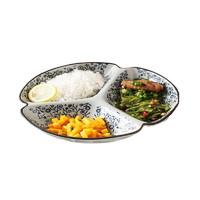 日式陶瓷餐具分格盘儿童分餐盘早餐盘子创意家用菜盘拼盘分隔餐盘