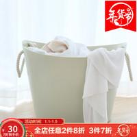 Fasola多功能大号塑料收纳桶 儿童洗澡桶衣物收纳篮收纳筐脏衣桶 浅绿色 *3件
