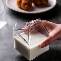 川岛屋日式玻璃牛奶杯方形牛奶盒微波炉可加热家用创意早餐杯子
