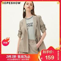 红袖秋季新款女装韩版格纹一粒扣小西服七分袖小西装外套女 *2件