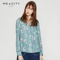 ME&CITY 524682 女装优雅印花撞色边睡衣式单排扣衬衫