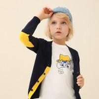安奈儿 童装男童毛衣开衫2020春季新款中大童开衫 新宝蓝 160cm